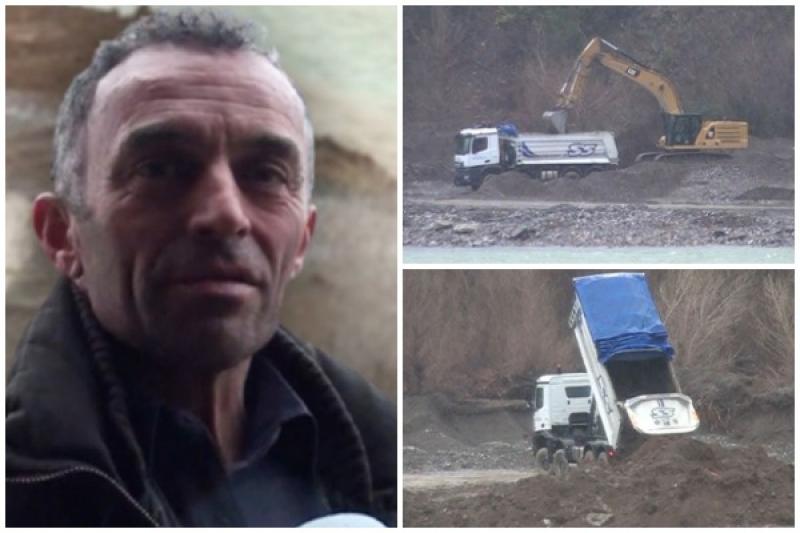 Kompania 'Salillari' masakron lumin Mat, ankohet banori: Hedhin mbeturinat e Astirit dhe marrin zhavorr. Ja kërkesa që ka për firmën ndërtuese