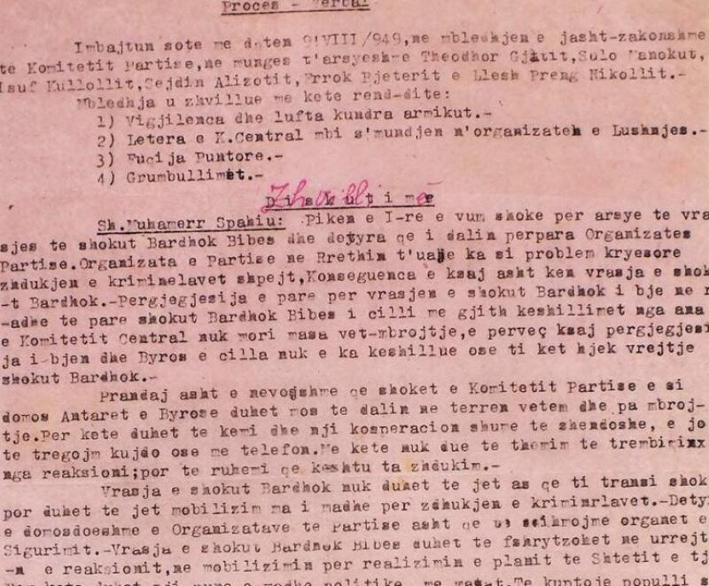 Faksimile e procesverbalit të mbledhjes së komunistëve të Mirditës