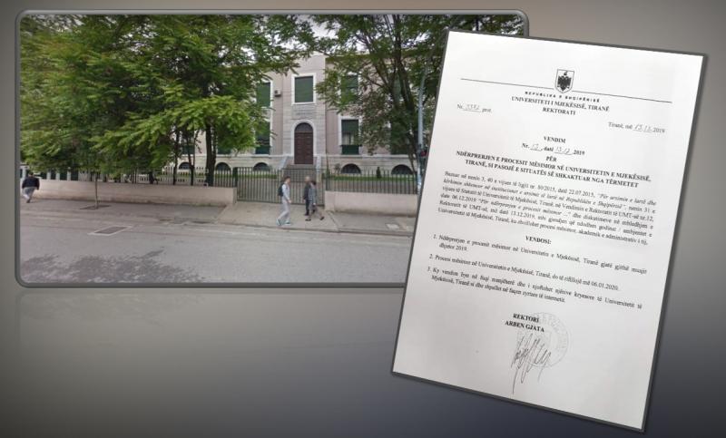 Dokument/ Univeristeti i Mjekësisë pezullon mësimin, rektori: Rikthemi në 6 janar, godinat u dëmtuan nga tërmeti