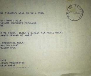 1988/Telegrami i nënës së Havzi Nelës drejtuar Presidiumit të Kuvendit Popullor