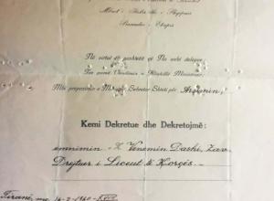 1940/Dekreti i emërimit (zv) drejtorit të Liceut të Korçës