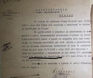 1947/Ministria e Industrisë, grumbullonte dokumentet për t'i çuar në Jugosllavi