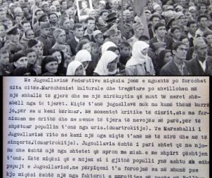 """1945/""""Jugosllavia mbron me mish e me shpirt çështjen tonë"""""""