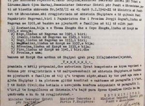 Familjarëve të Papa Kristo Negovanit iu dha shtetësia shqiptare në vitin 1942